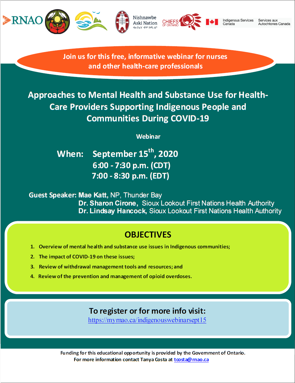 Flyer for Webinar: Approaches to Mental Health and Substance Use for Health-Care Providers Supporting Indigenous People and Communities During COVID-19